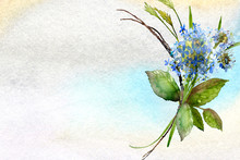 Blue Watercolor Ombre Wash Background Texture With Hydrangea Flower