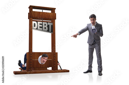 Fotomural Businessman in heavy debt business concept