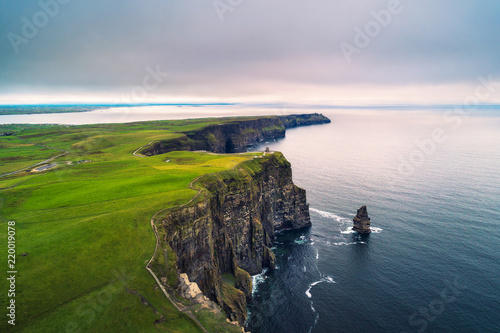 Cote Aerial view of the scenic Cliffs of Moher in Ireland