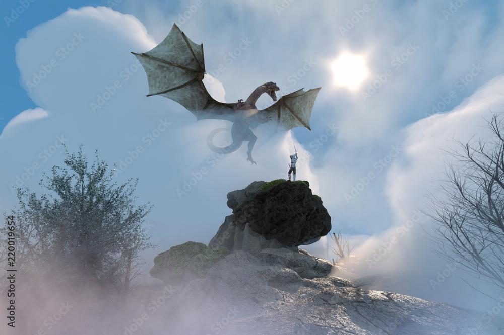 3D Illustration of a knight fighting dragon, dragon versus man