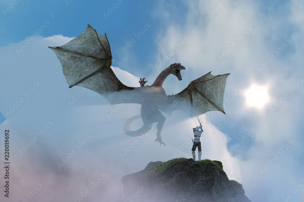 3D Illustration of a knight fighting dragon, dragon versus man