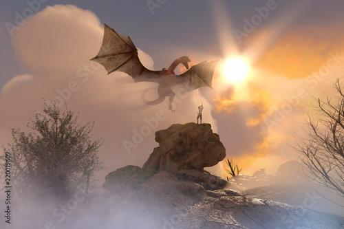 Naklejka premium 3D ilustracja rycerza walczącego smoka, smok versus mężczyzna