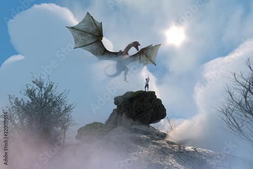 Naklejka premium 3D ilustracja rycerza walczącego ze smokiem, smok kontra człowiek