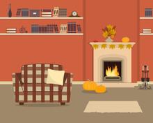 Orange Living Room With Firepl...