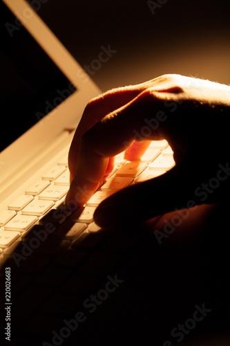 Foto op Plexiglas Gymnastiek Woman's Hand Typing on a Laptop