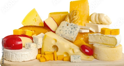Various Kinds of Cheeses on the Wooden Platter - Isolated
