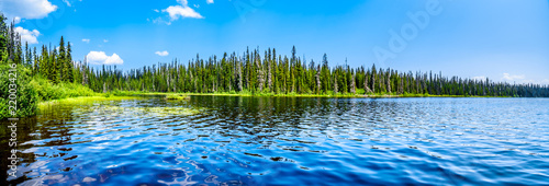 The clear water of McGillivray Lake, a high alpine lake near the alpine village of Sun Peaks in the Shuswap Highlands of the central Okanagen in British Columbia, Canada