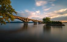 The Columbia–Wrightsville Bridge, Officially The Veterans Memorial Bridge, Spans The Susquehanna River Between Columbia And Wrightsville, Pennsylvania, USA.