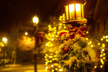 Street Lamp With Christmas Dec...