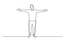 Continuous Line Drawing Of Standing Man Spreading Arms
