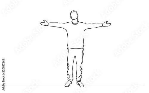 Fotografie, Obraz  continuous line drawing of standing man spreading arms