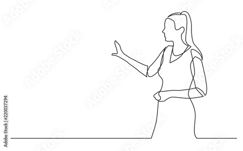 Cuadros en Lienzo continuous line drawing of walking businessman in suit
