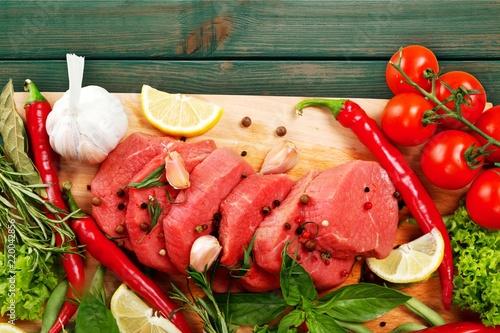 Fresh Raw Meat Background on background