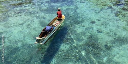 Fotografie, Tablou Fisherman in his boat  on turquoise sea