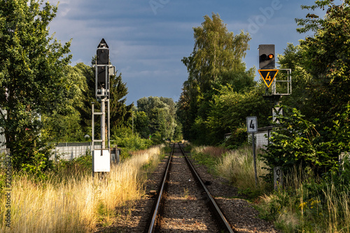Staande foto Spoorlijn Eingleisige Bahnstrecke
