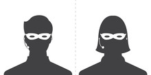 Avatar Head Profile Silhouette Call Center Thief Mask Male And Female Picture