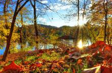 Daniel Boone Park In Charleston West Virginia During The Fall Season