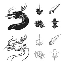 Dragon With Mustache, Seoul Tower, National Musical Instrument, Hibiscus Flower. South Korea Set Collection Icons In Black,outline Style Vector Symbol Stock Illustration Web.