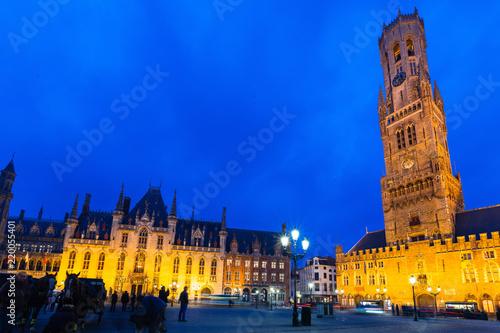 Deurstickers Brugge Grote market at twilight bruges belgium