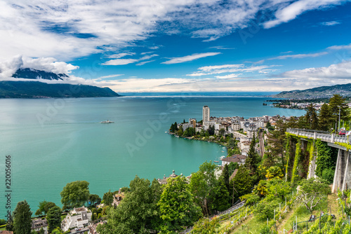 Canvas Print Switzerland, Montreux and lake Leman view