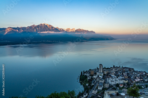 Foto op Plexiglas Groen blauw Switzerland, scenic view on Alps with fog, clouds near lake Leman