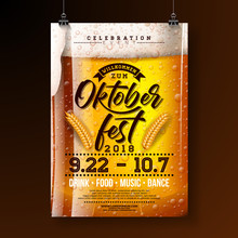 Oktoberfest Party Poster Illustration With Fresh Lager Beer And Wheatear On Dark Background. Vector Celebration Flyer Template With Typography Lettering For Traditional German Beer Festival.