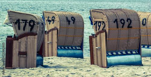 Fotobehang Noordzee beach chair, strandkorb mit zahlen