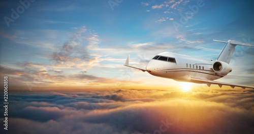 Fototapeta Luxury private jetliner flying above clouds obraz