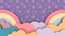 Rainbows And Clouds Paper Crafts On Purple Dots Pattern Background.