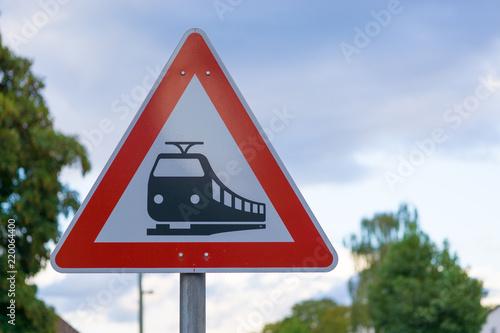 Fotografía  Straßenschild Bahnübergang