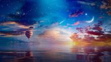 Crescent Moon, Hot Air Balloon And Comet In Sunset Starry Sky