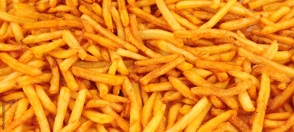 Obraz Crispy golden French fries background fototapeta, plakat