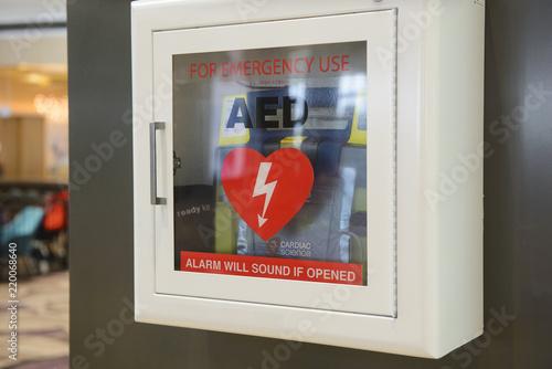 Fototapeta Automated External Defibrillator(AED) on the wall obraz