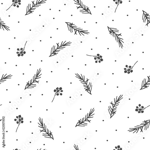 Winter seamless pattern. Hand drawn branches.  Wall mural