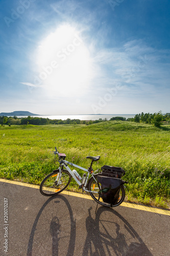 Photo  Balaton lake, Hungary. Touring bicycle
