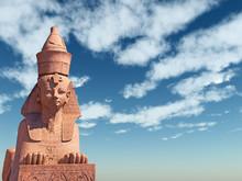 Egyptian Sphinx On Blue Sky Ba...