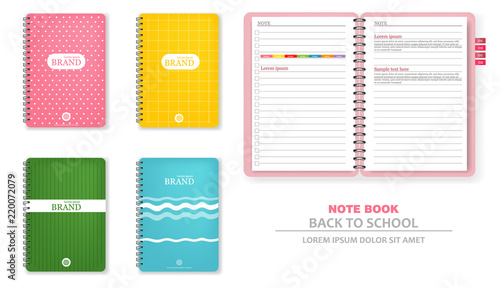 Obraz Colorful note books Vector realistic. 3d detailed illustrations - fototapety do salonu