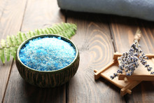 Bowl With Sea Salt For Spa And Lavender On Wooden Table