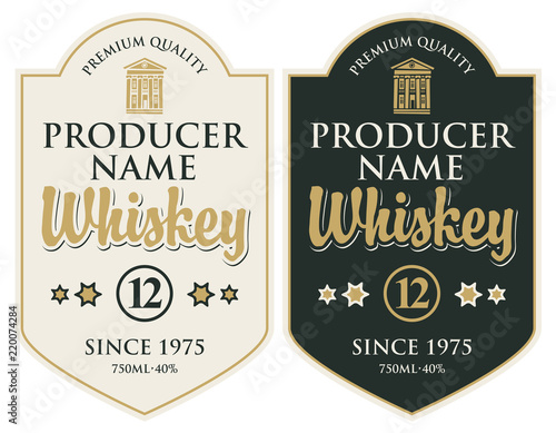 Fototapety, obrazy: Set of two vector labels for whiskey premium quality in the figured frame with old building and calligraphic inscription in retro style