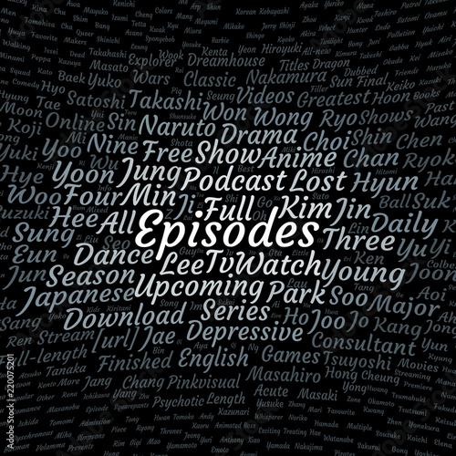 Episodes word cloud Fototapet