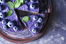 Plate With Tasty Blueberry Che...