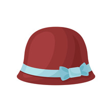 Flat Vector Icon Of Burgundy Female Hat With Blue Bow. Women Headwear. Stylish Accessory. Fashion Theme