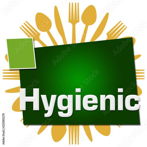 Fotografía  Hygienic Spoon Fork Knife Circular Green Squares