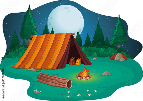 Fototapeta Camping with campfire and tent on the forest.