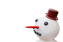 Close-up Of A Snowman Isolated On White Background.