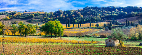 Idylic rural landscape in autumn colors. Tuscany countruside , Italy