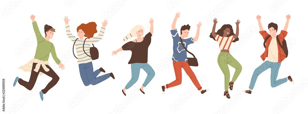 Fototapeta Group of young joyful laughing people jumping with raised hands isolated on white background. Happy positive young men and women rejoicing together. Colored vector illustration in flat cartoon style.
