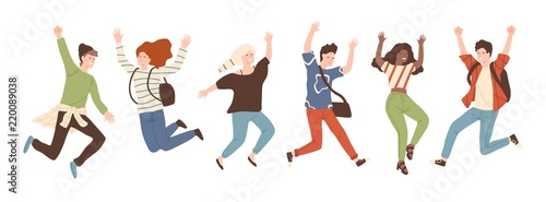 Obraz Group of young joyful laughing people jumping with raised hands isolated on white background. Happy positive young men and women rejoicing together. Colored vector illustration in flat cartoon style. - fototapety do salonu