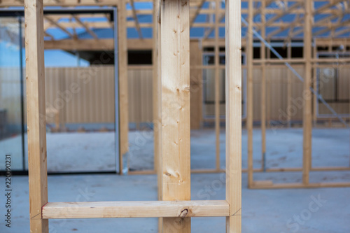 A timber frame of a house being newly built in South Australia on 29th August 2018