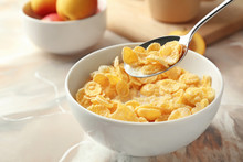 Eating Of Healthy Cornflakes W...